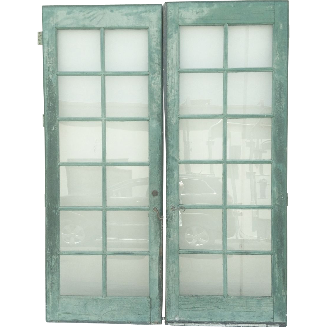 pair painted french doors 12 pane glass doors vintage from