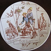 French Sarreguemines Story  Plate