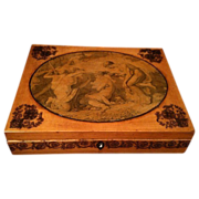 Antique Georgian Box with Transfer Decoration & Pen Work Allegorical