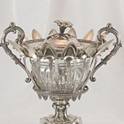 SALE PENDING Antique French Sterling Silver Confiturier Crystal Bowl & Twelve Spoons