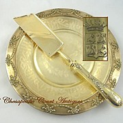 SOLD Exceptional Antique French Sterling Silver Vermeil Cake Knife or Server Armorial Crest