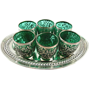 Vintage Silver Overlay & Emerald Green Overlay Cordial Glasses with Silver Tray