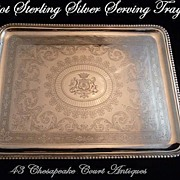 SOLD Antique French Sterling Silver Serving Tray by Odiot with Armorial 2,863 Gr