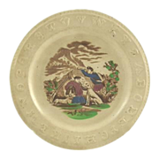Antique Children's Raised ABC Plate Brown Transfeware with Dogs
