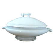 Antique  White Covered Footed Tureen Stone China H Burgess