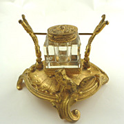 SALE PENDING Antique French Gilt Ormolu Inkwell with Fox-Equestrian Interest