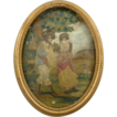 Antique Silk Embroidery Georgian Era Romantic Scene in Garden