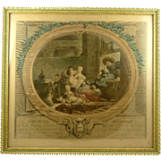 Antique Hand Colored Engraving French Scene L'Heureuse Fecondite