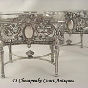 SOLD Antique French Sterling Silver Salt Cellars~Sweetmeat Dishes Jardiniere Form