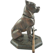 Antique Carved Wood Inkwell/Ink Pot with Pen In Form of  Pug/Mastiff