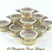 SOLD Antique French Silver Vermeil & Limoges Ramekins Set of Ten