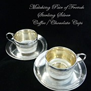 SOLD Antique French Sterling Silver Pair of Tea/Coffee Chocolate Cups