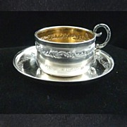 SOLD Antique Miniature French Sterling Silver & Vermeil Chocolate Cup & Saucer