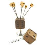 Vintage English Bar Cocktail Set Dice Corkscrew & Skewers