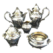 Antique French Sterling Silver & Vermeil 5 Piece Coffee Tea Service by Harleux