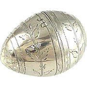 SOLD Antique Sterling Silver Nutmeg Grater Egg Shaped George III