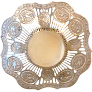 Antique Silver Bowl Pierced Work Ornate Design Bay Leaf Garland & Birds Hanau