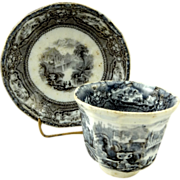 Antique Black/Mulberry Transferware Handleless Cup Saucer Circa 1830
