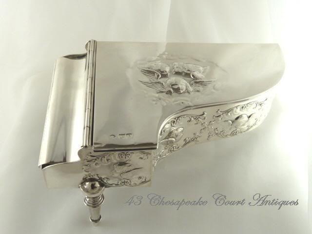 Antique English Sterling Silver Jewelry Box in Form of Grand Piano