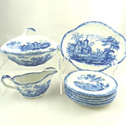 Antique English Blue & White Transferware Childrens Toy  Dinner Set