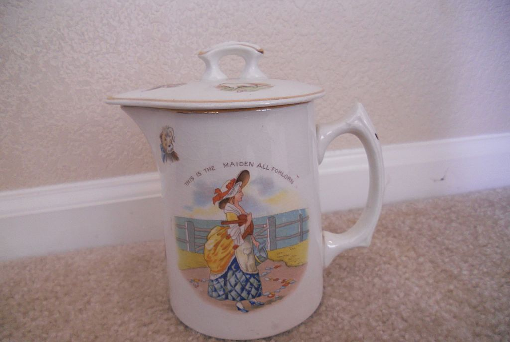 Vintage Covered Pitcher with Nursery Rhyme by Edwin M. Knowles