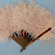 SOLD Small Feather Fan with Tortoise Shell Blades