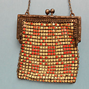 Orange and White Mesh Purse