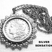 "Antique ""VF"" 1885-O MORGAN STERLING SILVER Authentic Dollar Coin Pendant 16"" Ne"