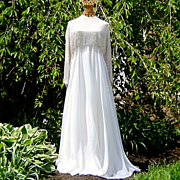 Vintage Victoria Royal Ltd. White Chiffon Bugle Bead Wedding Evening Gown