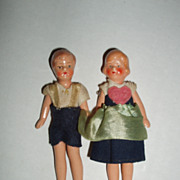 1930's Pair of Painted Bisque, Doll House Dolls