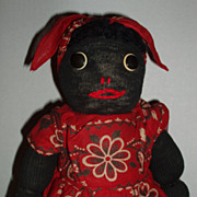 Folk Art, Primitive, Black Americana, Stockinette Doll