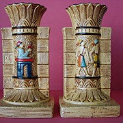 REDUCED Vintage Pair SylvaC Egyptian Ware England Pottery Vases with Letter