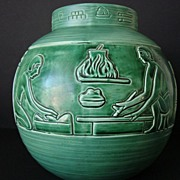 Gorgeous Art Deco Green Egyptian Julius Dressler Austria Vase � Extremely Rare!