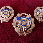 SALE Vintage VFW Auxiliary Matching Different Enamel 3 Pin Set 10k Solid Gold