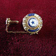 Pretty Vintage 10k Gold Enamel & Pearl American Legion Auxiliary Pin