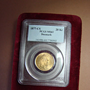 REDUCED 1877CS Denmark Little Mermaid 20Kr Gold Coin  PCGS Mint State 63, Nice!