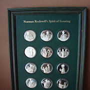 SALE Vintage Norman Rockwell�s Spirit of Scouting Franklin Mint Sterling Silver Set of 12