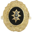 Victorian Genuine Onyx & Seed Pearl Cocktail Ring - 10k Yellow Gold Elegant 4.8g