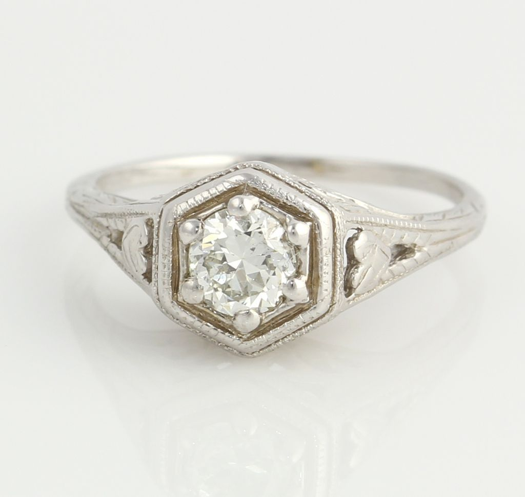 antique 1 3ct engagement ring 14k white gold from