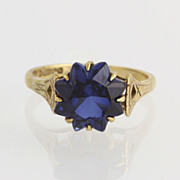 Victorian Sapphire Flower Design Ladies Ring - 9k Yellow Gold