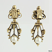 Victorian Style Pearl Earrings - 14K Yellow GOLD