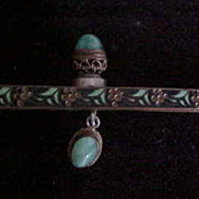 Enamel Purse Frame with Jade-like Stone Cabochons