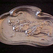 Art Nouveau Sterling Repousse Horse Racing Tray