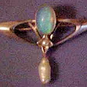 Murrle Bennett Style 9K White Gold Art Nouveau Opal and Seed & River Pearl Brooch