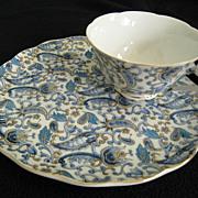 SALE Lefton Blue Paisley Snack Set