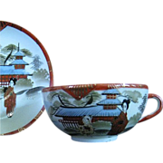 SALE Japanese Cup and Saucer, Okinawa, c. 1955-1965