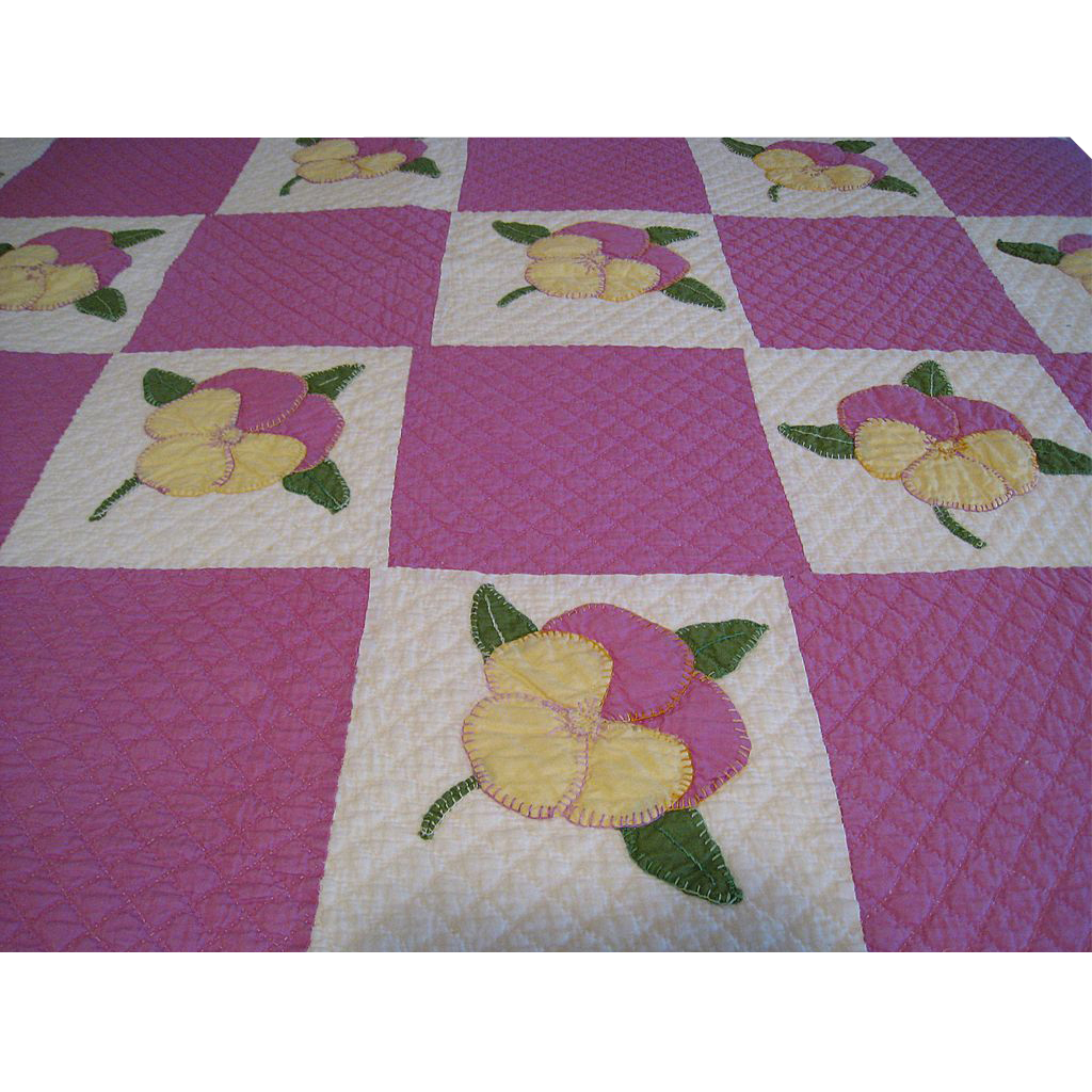 Pansy Applique and Embroidery Quilt, c. 1930-1940