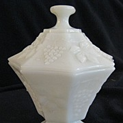 SALE Fenton Milk Glass Candy Dish