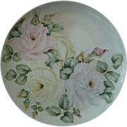 SALE Hand Painted Cabbage Rose Plate