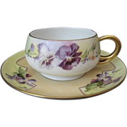 Gaines Studio Hand Painted Pansy Cup and Saucer